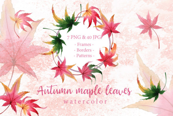 Print on Demand: Autumn Maple Leaves Watercolor Set Graphic Illustrations By MyStocks