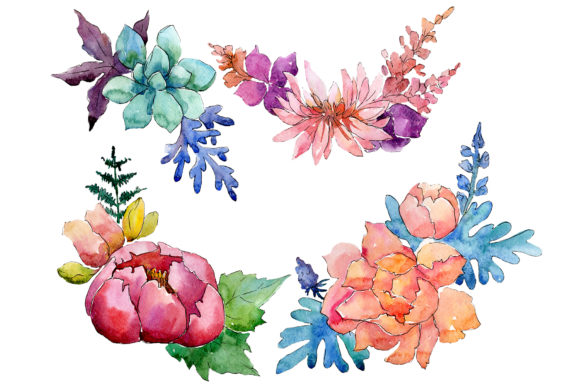 Print on Demand: Bouquet Charming Tenderness Watercolor Graphic Illustrations By MyStocks
