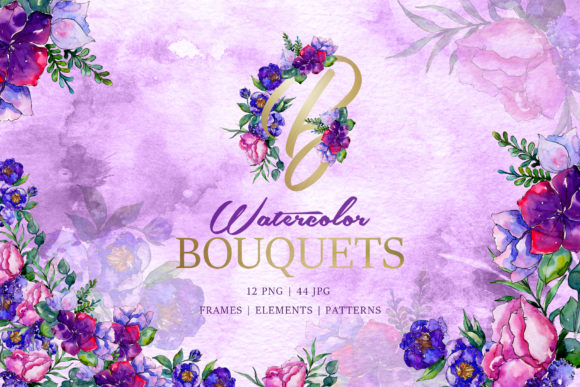 Print on Demand: Bouquets of Purple Flowers Watercolor Graphic Illustrations By MyStocks
