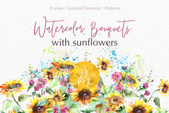 Print on Demand: Bouquets with Sunflowers Watercolor Graphic Illustrations By MyStocks