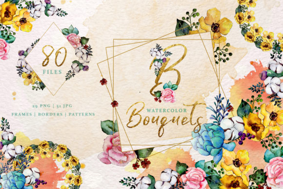 Print on Demand: Bouquets Yellow Watercolor Graphic Illustrations By MyStocks