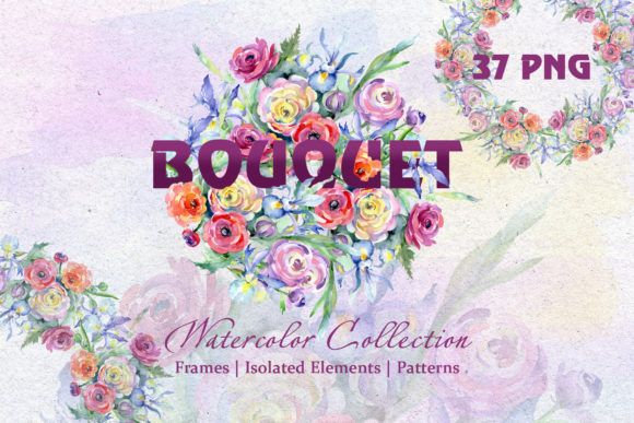 Print on Demand: Bright Watercolor Bouquets Graphic Illustrations By MyStocks