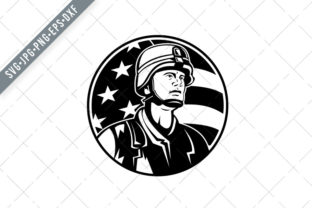 Print on Demand: Bust of American Soldier Military Graphic Illustrations By patrimonio