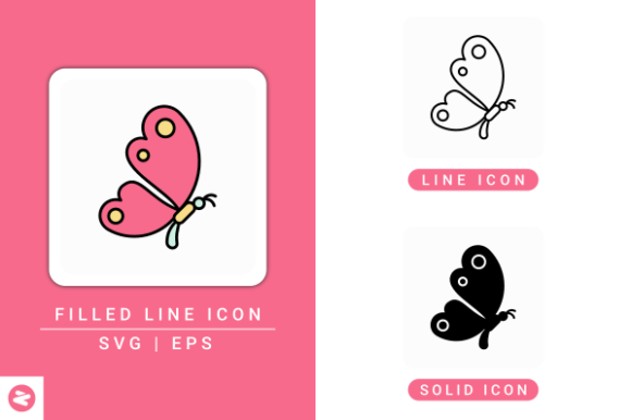 Print on Demand: Butterfly Icons Set Graphic Icons By zenorman03