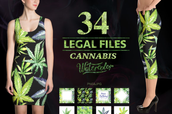 Print on Demand: Cannabis Watercolor Flower Set Graphic Illustrations By MyStocks