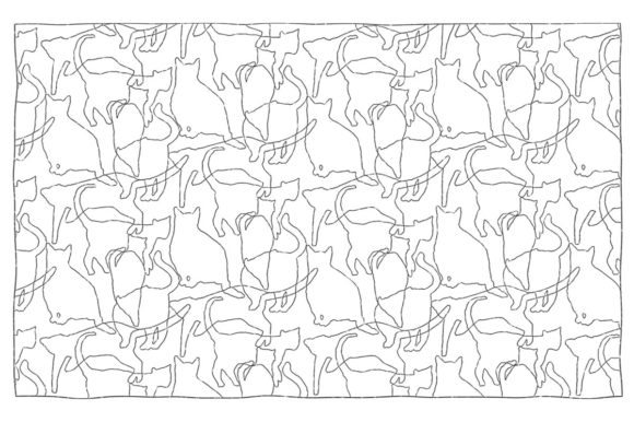 cats pattern coloring pages
