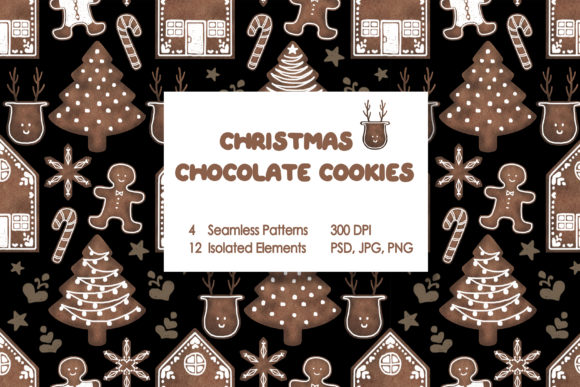 Christmas Chocolate Cookies Graphic Patterns By tobagu