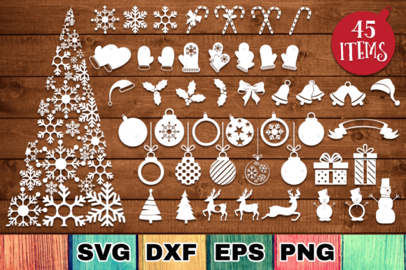 Print on Demand: Christmas Bundle with 45 Cut Files Graphic Crafts By Anastasia Feya