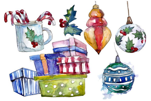Christmas Tea-drinking Watercolor Graphic