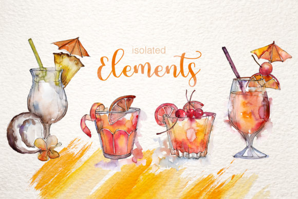 Print on Demand: Cocktail Watercolor Graphic Illustrations By MyStocks