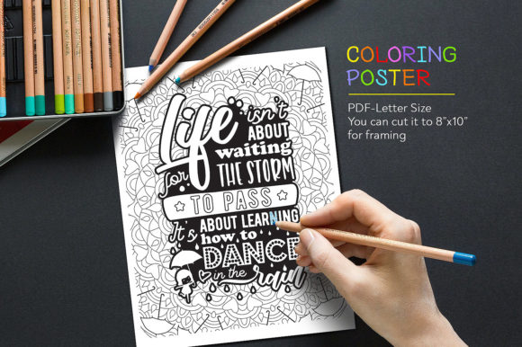 Coloring anti stress quote