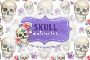 Print on Demand: Cool Skull Print Watercolor Set Graphic Illustrations By MyStocks