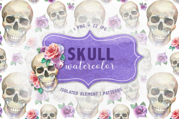 Print on Demand: Cool Skull Print Watercolor Set Gráfico Ilustraciones Por MyStocks