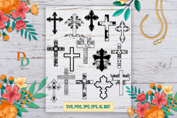 Crosses, Cross Silhouettes Graphic Crafts By denysdigitalshop