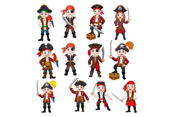 Cute Pirates Clipart Vector Set Graphic Illustrations By tigatelusiji