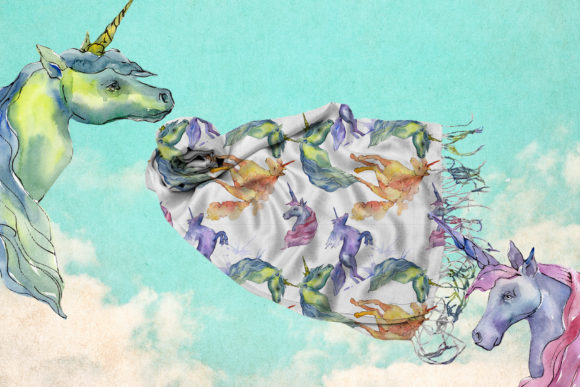 Cute Unicorn Horse Watercolor Collection Set Graphic Download