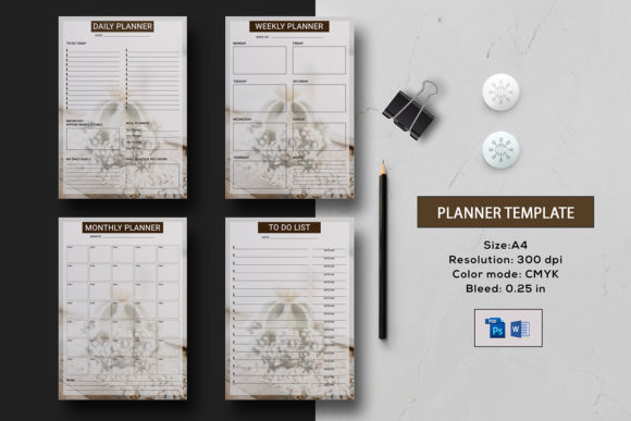 Print on Demand: Daily, Weekly, Monthly Planner Graphic Print Templates By sistecbd