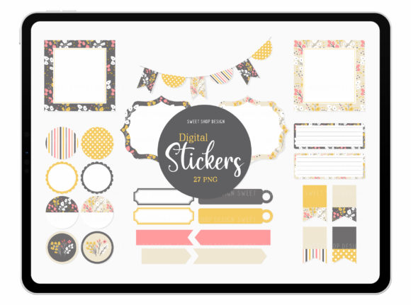 Digital Stickers SPRING POPPIES Graphic Illustrations By Sweet Shop Design