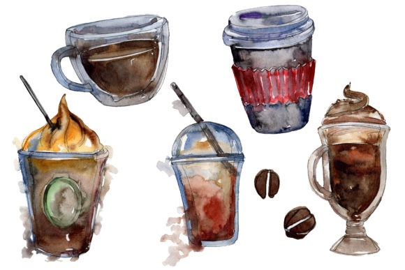 Print on Demand: Drinks Coffee Watercolor Gráfico Ilustraciones Por MyStocks