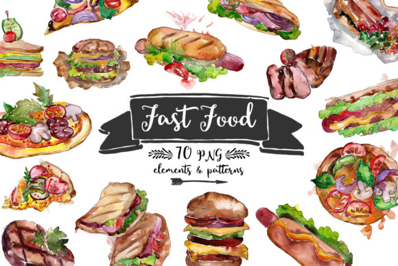 Fast Food Hot Dog Watercolor Graphic