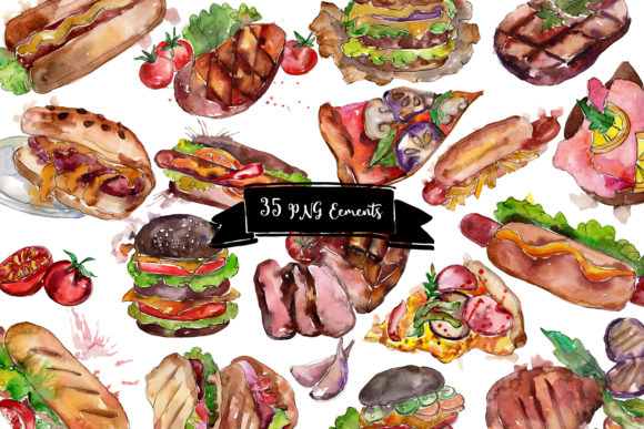 Fast Food Hot Dog Watercolor Graphic Download