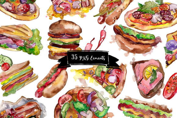 Fast Food Hot Dog Watercolor Graphic Item