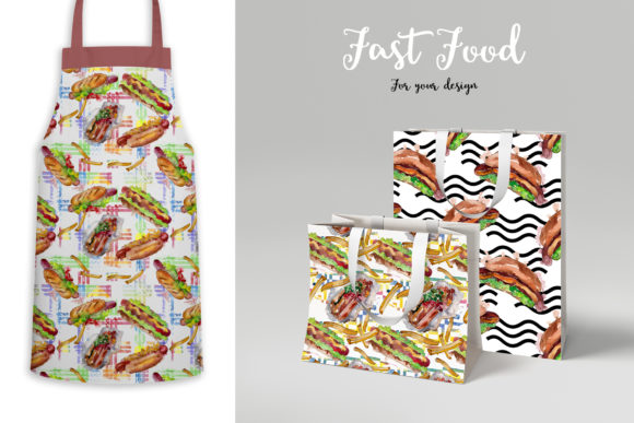 Fast Food Hot Dog Watercolor Graphic Preview