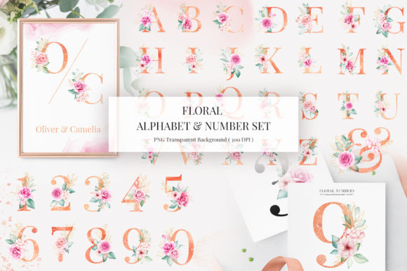 Print on Demand: Floral Alphabet & Number Clipart Bundle Graphic Illustrations By KeepMakingArt