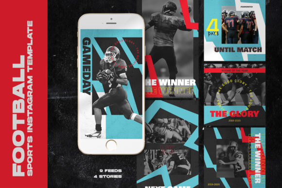 Football Sports Instagram Templates Graphic Web Elements By qohhaarqhaz