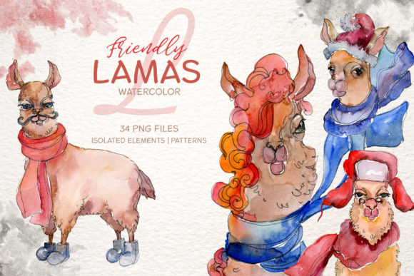 Print on Demand: Friendly Lamas Watercolor Graphic Illustrations By MyStocks
