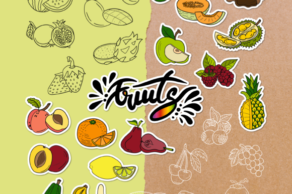 Fruits Doodle Clipart Pack - 4 Styles Graphic Objects By WADLEN