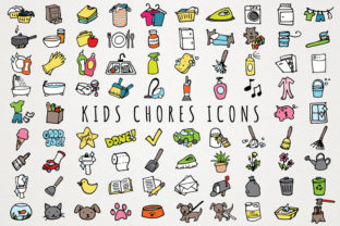 Fun Hand Drawn Kids Chores Icons Set Graphic Icons By LemonadePixel