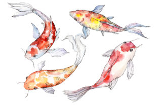 Print on Demand: Goldfish-2 Watercolor Graphic Illustrations By MyStocks