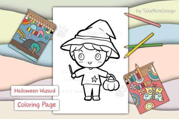 Halloween Wizard Boy Graphic Coloring Pages & Books Kids By TakeNoteDesign