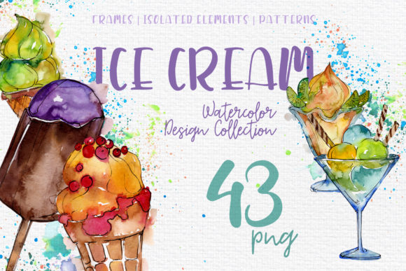 Print on Demand: Ice- Cream Sundae Watercolor Graphic Illustrations By MyStocks