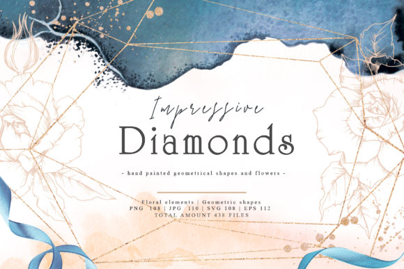 Print on Demand: Impressive Diamonds Watercolor and Vector Set Graphic Illustrations By MyStocks