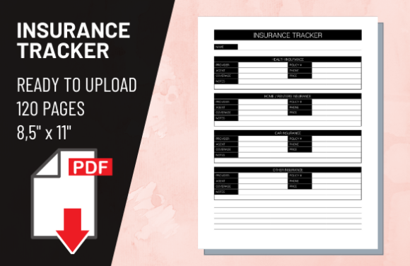 Print on Demand: KDP Interior Insurance Tracker Graphic KDP Interiors By atlasart