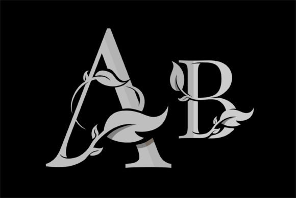 Lettering a & B, and Beautiful Leaf Graphic Illustrations By onoborgol