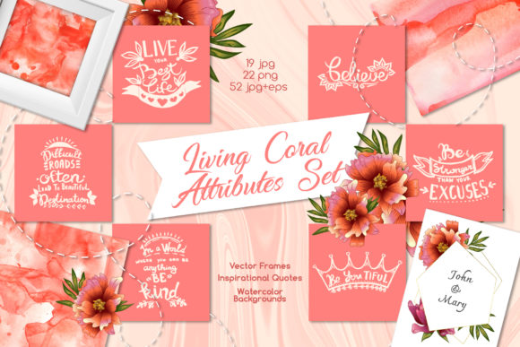 Print on Demand: Living Coral Attributes Set Watercolor Graphic Illustrations By MyStocks