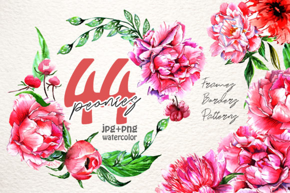Print on Demand: Lovely Pink Peony Watercolor Set Graphic Illustrations By MyStocks
