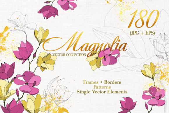 Print on Demand: Magnolia Vector Set Graphic Illustrations By MyStocks - Image 1