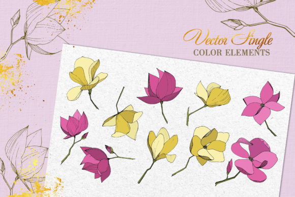 Print on Demand: Magnolia Vector Set Graphic Illustrations By MyStocks - Image 8