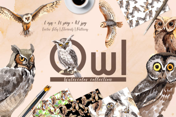 Print on Demand: Owl Watercolor Graphic Illustrations By MyStocks