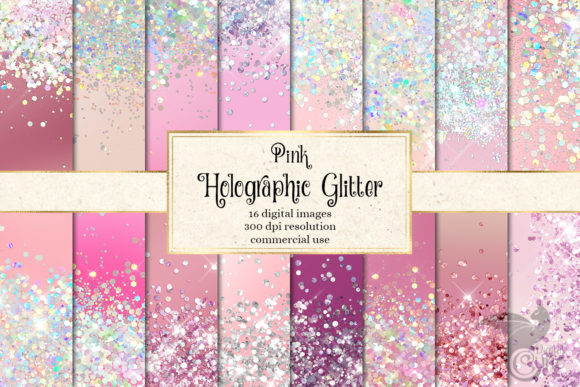 Print on Demand: Pink Holographic Glitter Digital Paper Graphic Textures By Digital Curio
