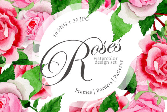 Print on Demand: Pink Roses Watercolor Design Set Graphic Illustrations By MyStocks