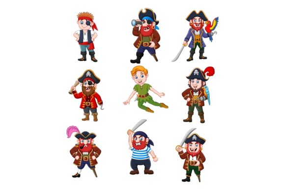 Pirates Clipart Vector Set Graphic Illustrations By tigatelusiji