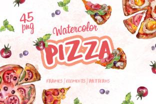Print on Demand: Pizza Watercolor Graphic Illustrations By MyStocks