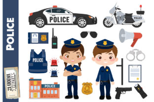 Police Clipart Police Car Policeman Cop Graphic Illustrations By Zlatoena Clipart 1