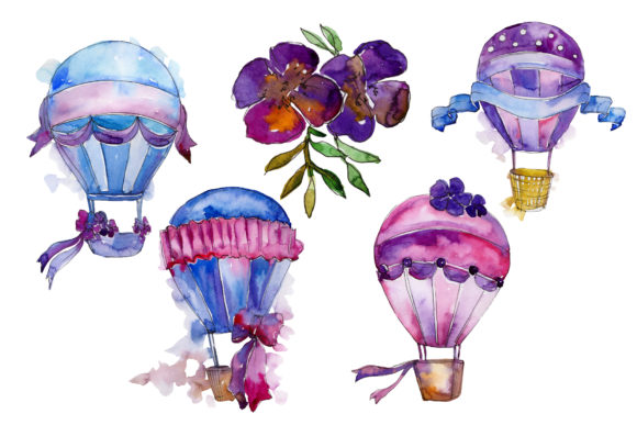 Print on Demand: Purple Balloons Watercolor Set Graphic Illustrations By MyStocks