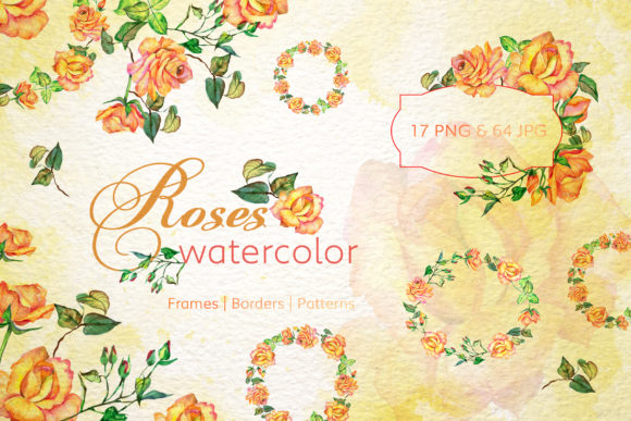 Print on Demand: Roses Watercolor Yellow Graphic Illustrations By MyStocks